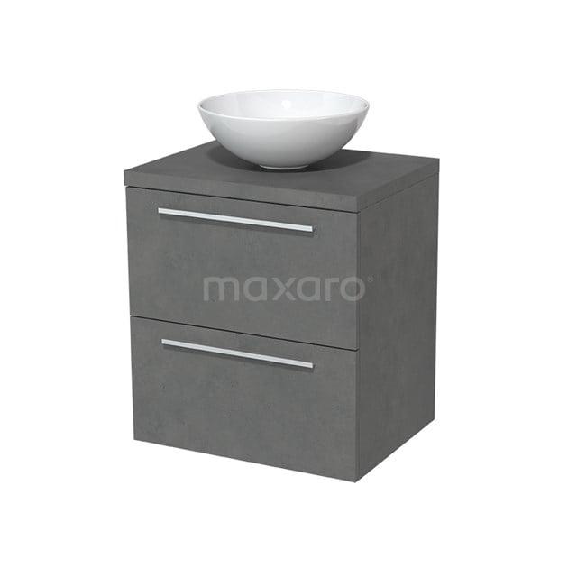 Badkamermeubel voor Waskom 60cm Modulo Plato Donkergrijs Beton 2 Lades Vlak  BMK17-00021