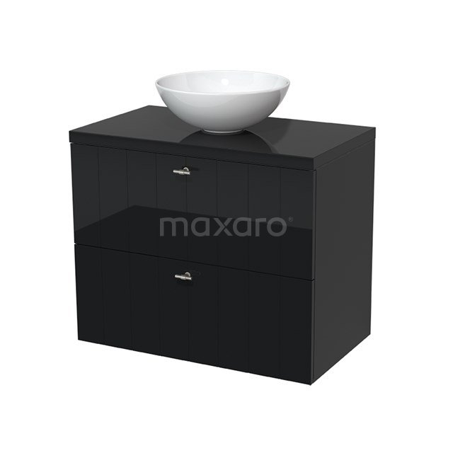 Badkamermeubel voor Waskom 80cm Modulo Plato Hoogglans Zwart 2 Lades Lamel  BMK17-00029