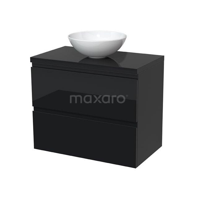 Badkamermeubel voor Waskom 80cm Modulo Plato Hoogglans Zwart 2 Lades Greeploos  BMK17-00030