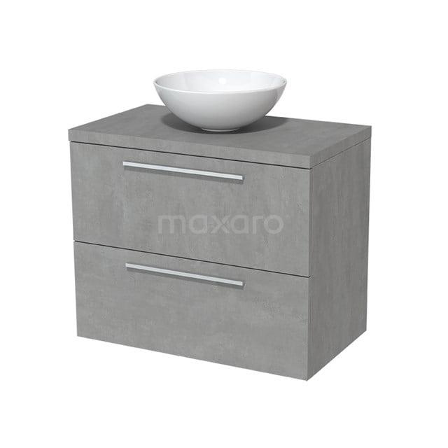 Badkamermeubel voor Waskom 80cm Modulo Plato Lichtgrijs Beton 2 Lades Vlak  BMK17-00041