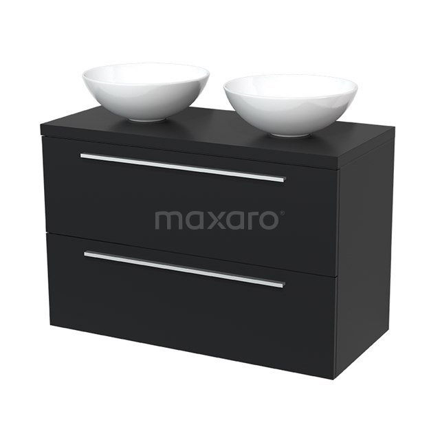 Badkamermeubel voor Waskom 100cm Modulo Plato Mat Zwart 2 Lades Vlak  BMK17-00043
