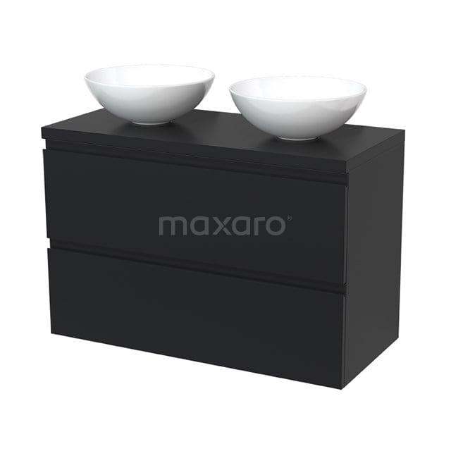 Badkamermeubel voor Waskom 100cm Modulo Plato Mat Zwart 2 Lades Greeploos  BMK17-00045