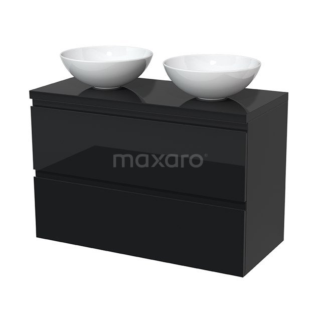 Badkamermeubel voor Waskom 100cm Modulo Plato Hoogglans Zwart 2 Lades Greeploos  BMK17-00051