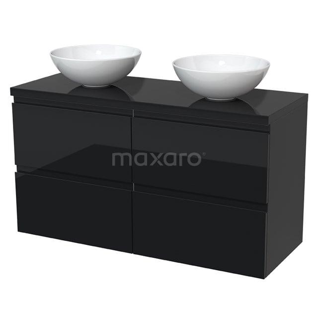 Badkamermeubel voor Waskom 120cm Modulo Plato Hoogglans Zwart 4 Lades Greeploos  BMK18-00009