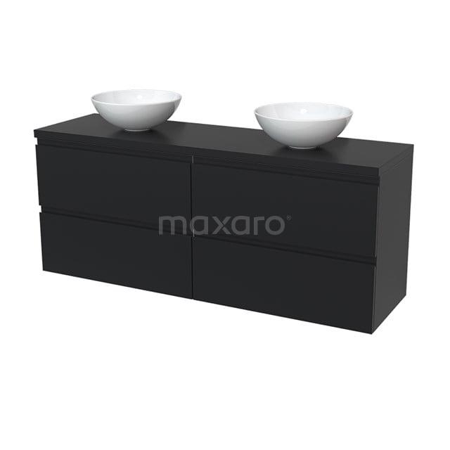 Badkamermeubel voor Waskom 160cm Modulo Plato Mat Zwart 4 Lades Greeploos  BMK18-00024