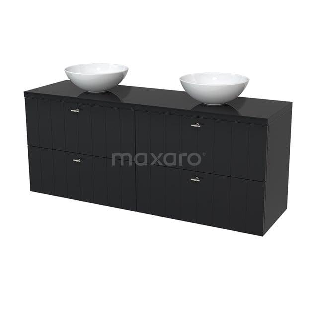 Badkamermeubel voor Waskom 160cm Modulo Plato Hoogglans Zwart 4 Lades Lamel  BMK18-00029