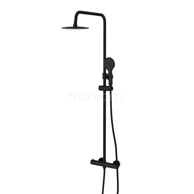 Regendoucheset Balance Black, Thermostaatkraan, 20cm Hoofddouche, Zwart DSC-0304-20000