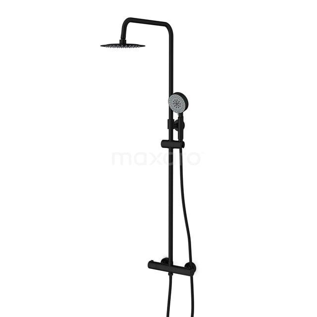 Regendoucheset Balance Black, Thermostaatkraan, 20cm Hoofddouche, Zwart DSC-0304-20002