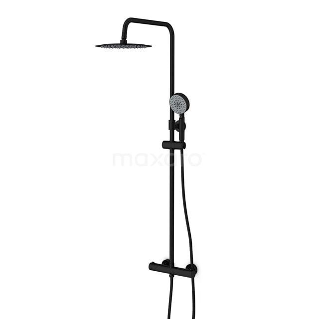 Regendoucheset Balance Black, Thermostaatkraan, 25cm Hoofddouche, Zwart DSC-0304-20003