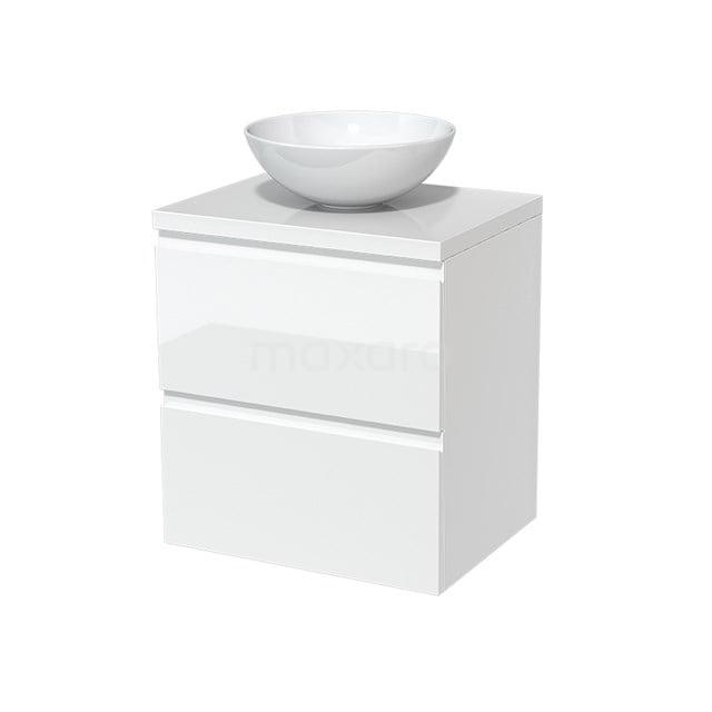 Badkamermeubel voor Waskom 60cm Modulo Plato Hoogglans Wit 2 Lades Greeploos  BMK17-00087