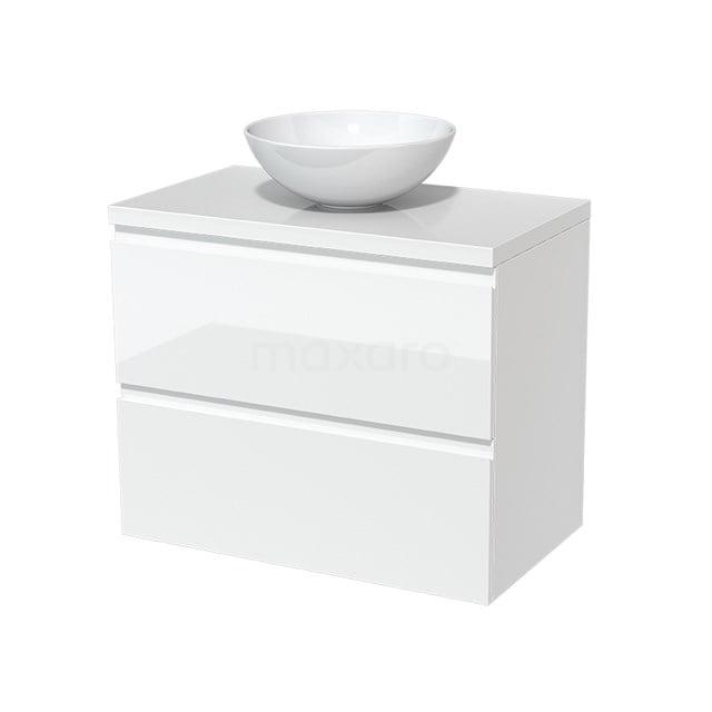 Badkamermeubel voor Waskom 80cm Modulo Plato Hoogglans Wit 2 Lades Greeploos  BMK17-00090