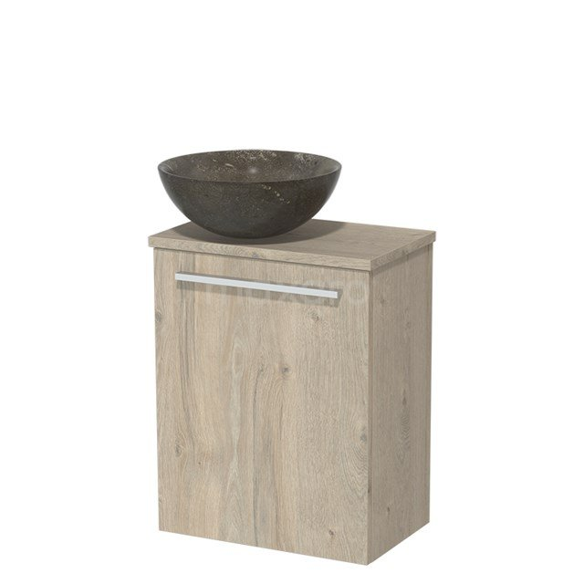 Toiletmeubel met Waskom Natuursteen Modulo Lichtgrijs Eiken 41 cm TMK10-00086