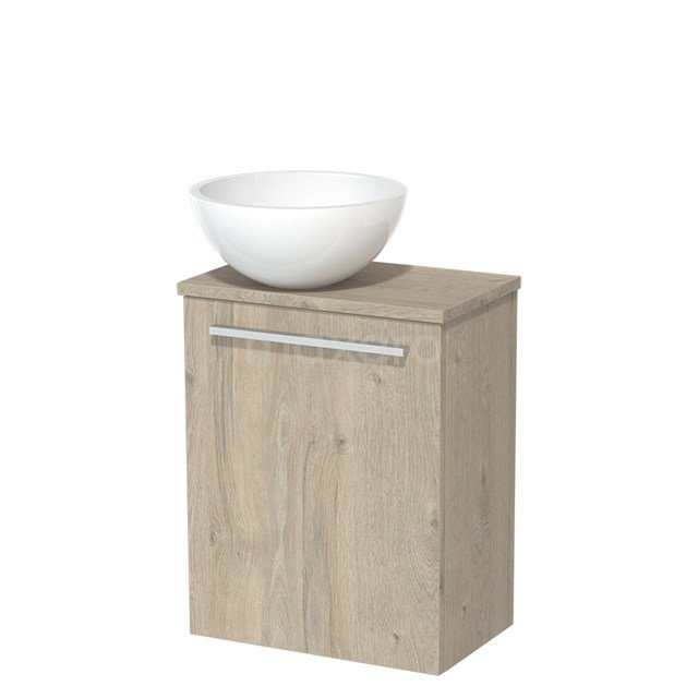 Toiletmeubel met Waskom Mineraalmarmer Glanzend Modulo Lichtgrijs Eiken 41 cm TMK10-00089