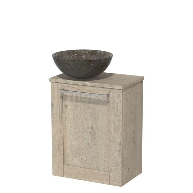 Toiletmeubel met Waskom Natuursteen Modulo Lichtgrijs Eiken 41 cm TMK10-00093