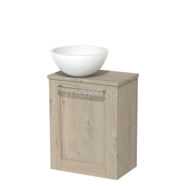 Toiletmeubel met Waskom Mineraalmarmer Glanzend Modulo Lichtgrijs Eiken 41 cm TMK10-00096
