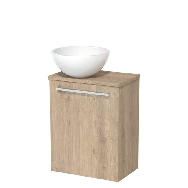 Toiletmeubel met Wastafel Mineraalmarmer Glanzend Modulo Lichtbruin Eiken 41 cm TMK10-00103