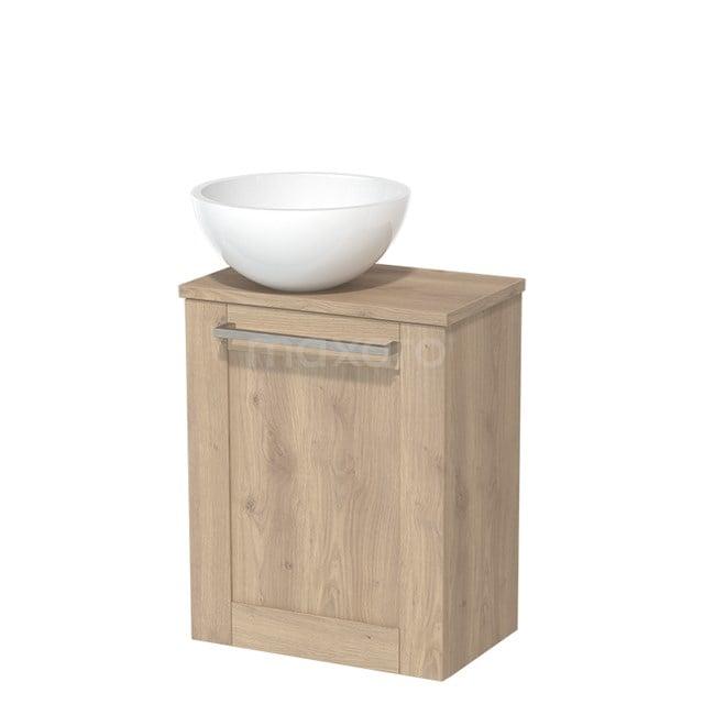 Toiletmeubel met Wastafel Mineraalmarmer Glanzend Modulo Lichtbruin Eiken 41 cm TMK10-00110