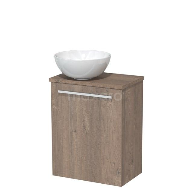 Toiletmeubel met Wastafel Keramiek Modulo Middenbruin Eiken 41 cm TMK10-00113