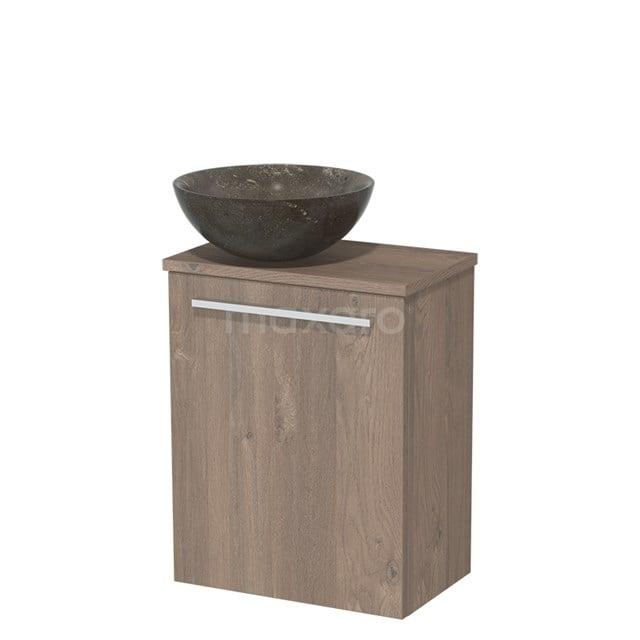 Toiletmeubel met Wastafel Natuursteen Modulo Middenbruin Eiken 41 cm TMK10-00114