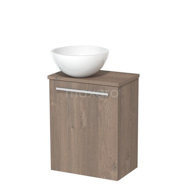 Toiletmeubel met Wastafel Mineraalmarmer Glanzend Modulo Middenbruin Eiken 41 cm TMK10-00117