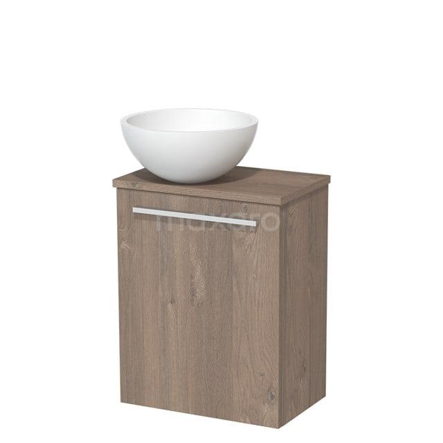 Toiletmeubel met Wastafel Solid Surface Mat Modulo Middenbruin Eiken 41 cm TMK10-00118