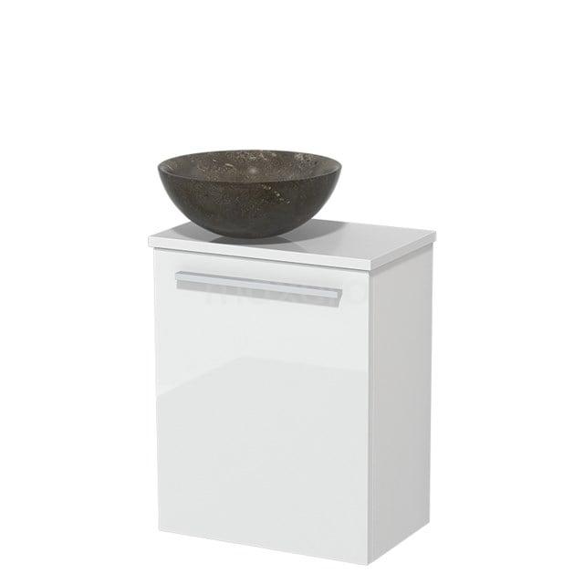 Toiletmeubel met Waskom Natuursteen Modulo Hoogglans Wit 41 cm TMK10-00170