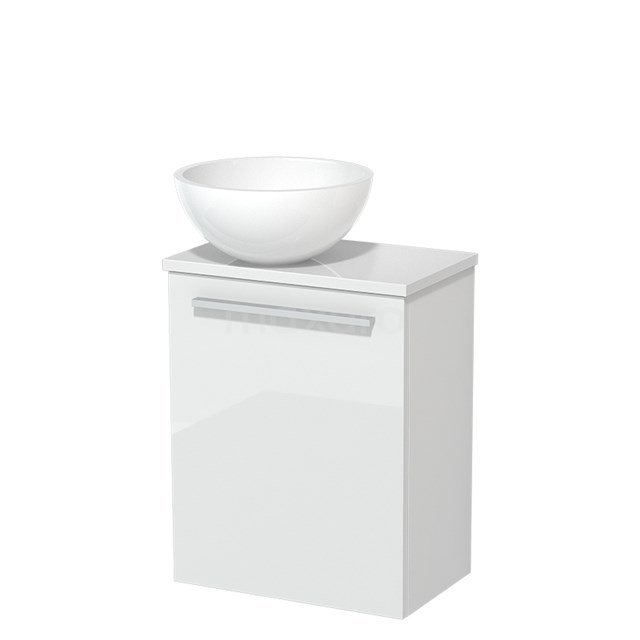 Toiletmeubel met Waskom Mineraalmarmer Glanzend Modulo Hoogglans Wit 41 cm TMK10-00172