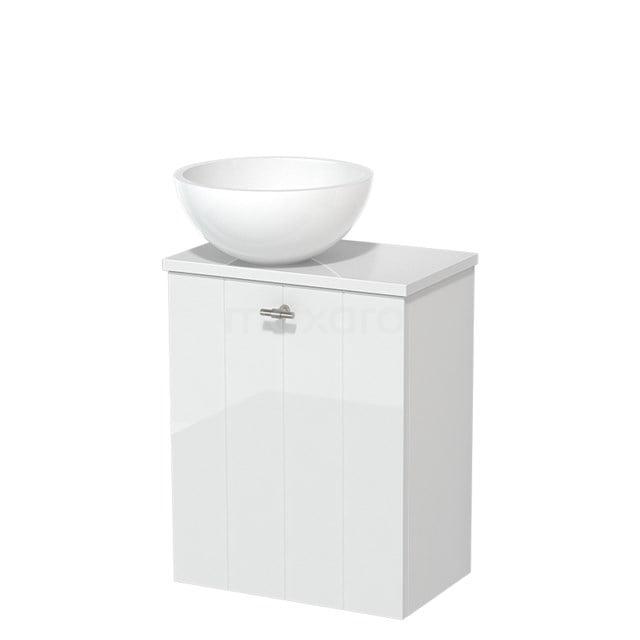 Toiletmeubel met Waskom Mineraalmarmer Glanzend Modulo Hoogglans Wit 41 cm TMK10-00178