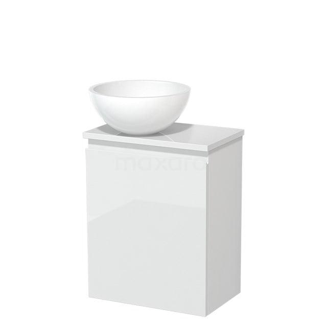 Toiletmeubel met Waskom Mineraalmarmer Glanzend Modulo Hoogglans Wit 41 cm TMK10-00184