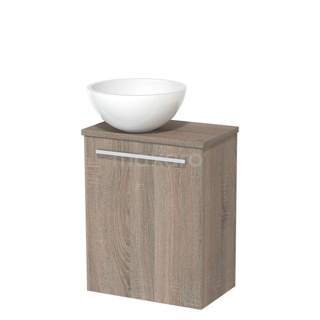 Toiletmeubel met Waskom Mineraalmarmer Glanzend Modulo Eiken 41 cm TMK10-00244
