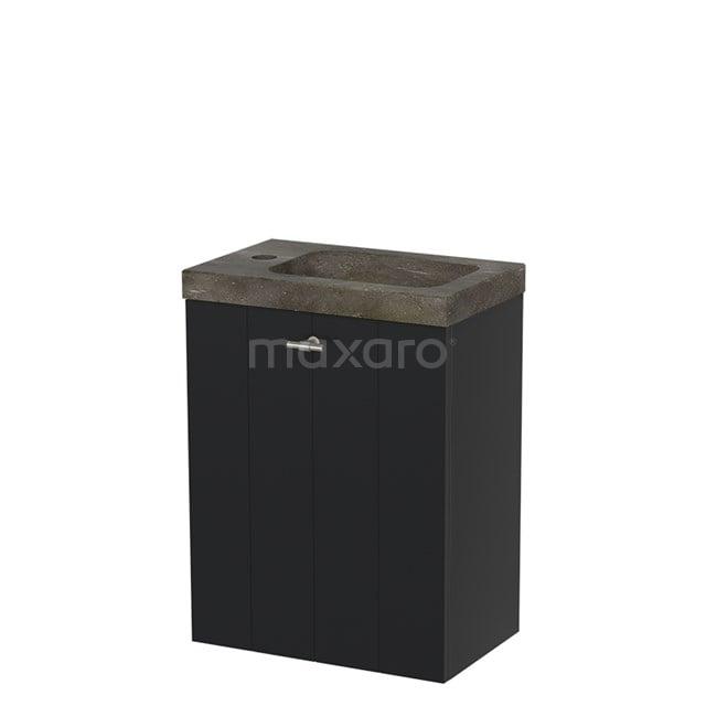 Toiletmeubel met Wastafel Natuursteen Modulo Mat Zwart 40 cm TMW10-00009