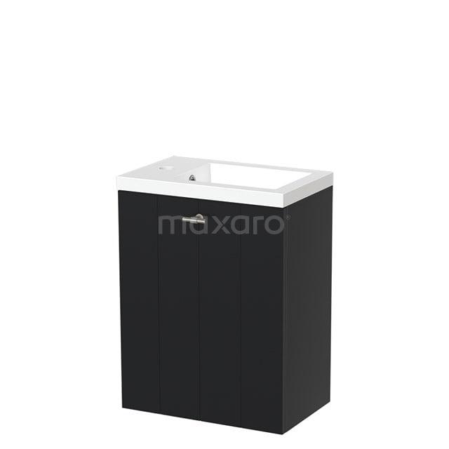 Toiletmeubel met Wastafel Mineraalmarmer Glanzend Modulo Mat Zwart 40 cm TMW10-00012