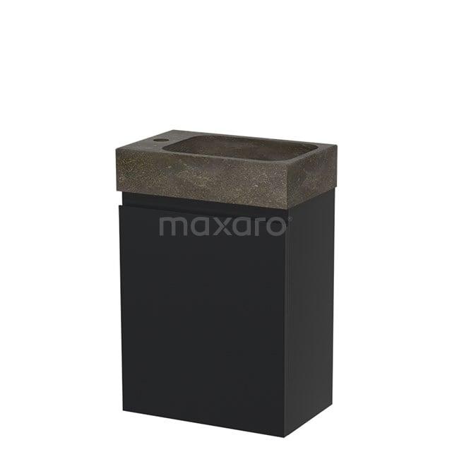 Toiletmeubel met Wastafel Natuursteen Modulo Mat Zwart 40 cm TMW10-00014