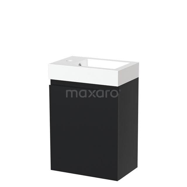 Toiletmeubel met Wastafel Mineraalmarmer Glanzend Modulo Mat Zwart 40 cm TMW10-00017