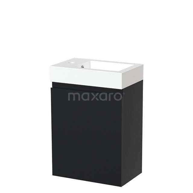 Toiletmeubel met Wastafel Mineraalmarmer Glanzend Modulo Mat Zwart 40 cm TMW10-00023