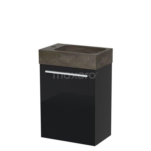 Toiletmeubel met Wastafel Natuursteen Modulo Hoogglans Zwart 40 cm TMW10-00050
