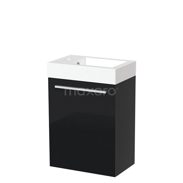 Toiletmeubel met Wastafel Mineraalmarmer Glanzend Modulo Hoogglans Zwart 40 cm TMW10-00053