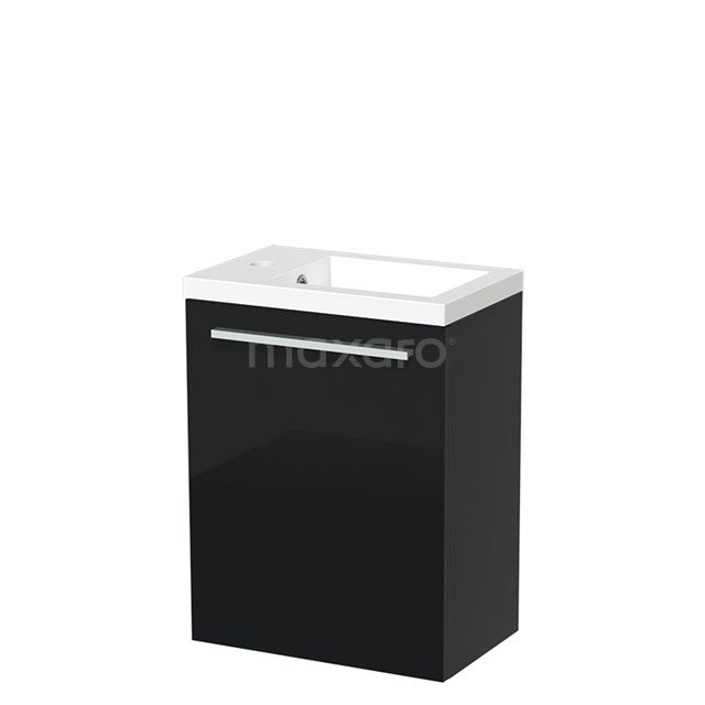 Toiletmeubel met Wastafel Mineraalmarmer Glanzend Modulo Hoogglans Zwart 40 cm TMW10-00054