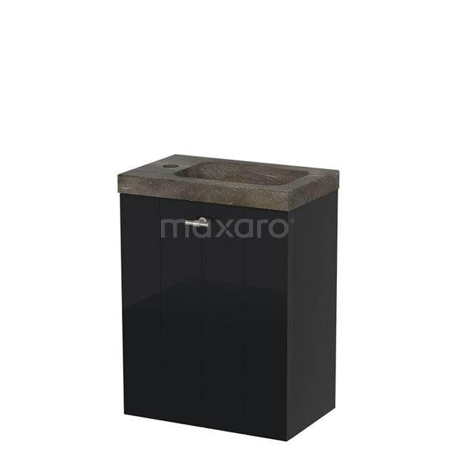 Toiletmeubel met Wastafel Natuursteen Modulo Hoogglans Zwart 40 cm TMW10-00057