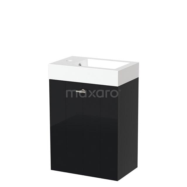 Toiletmeubel met Wastafel Mineraalmarmer Glanzend Modulo Hoogglans Zwart 40 cm TMW10-00059