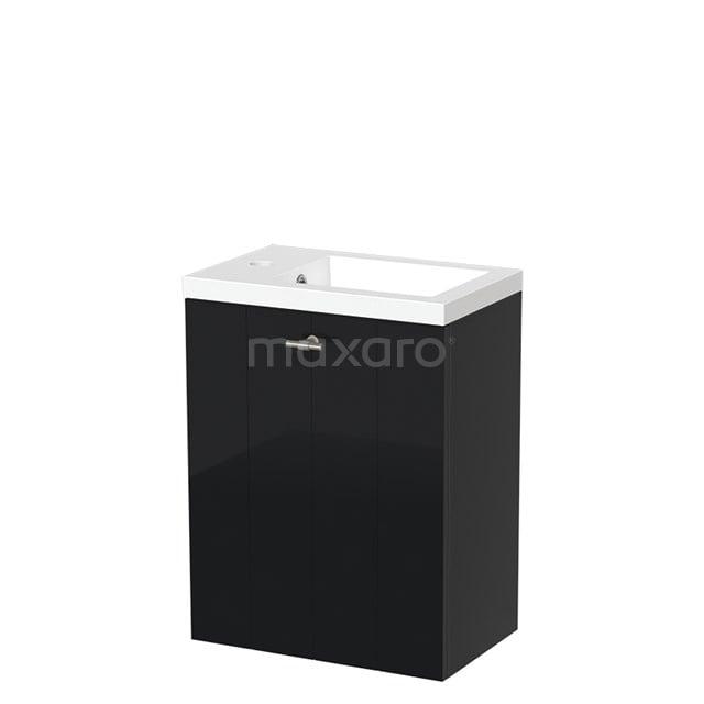 Toiletmeubel met Wastafel Mineraalmarmer Glanzend Modulo Hoogglans Zwart 40 cm TMW10-00060