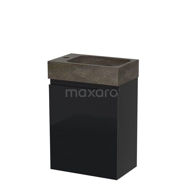 Toiletmeubel met Wastafel Natuursteen Modulo Hoogglans Zwart 40 cm TMW10-00062