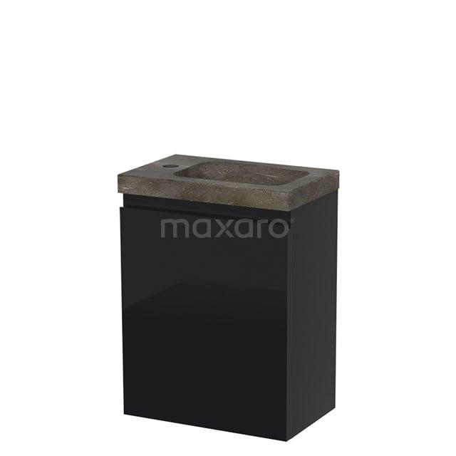 Toiletmeubel met Wastafel Natuursteen Modulo Hoogglans Zwart 40 cm TMW10-00063