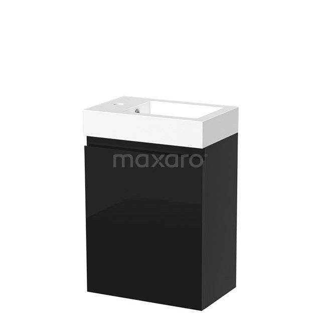 Toiletmeubel met Wastafel Mineraalmarmer Glanzend Modulo Hoogglans Zwart 40 cm TMW10-00065