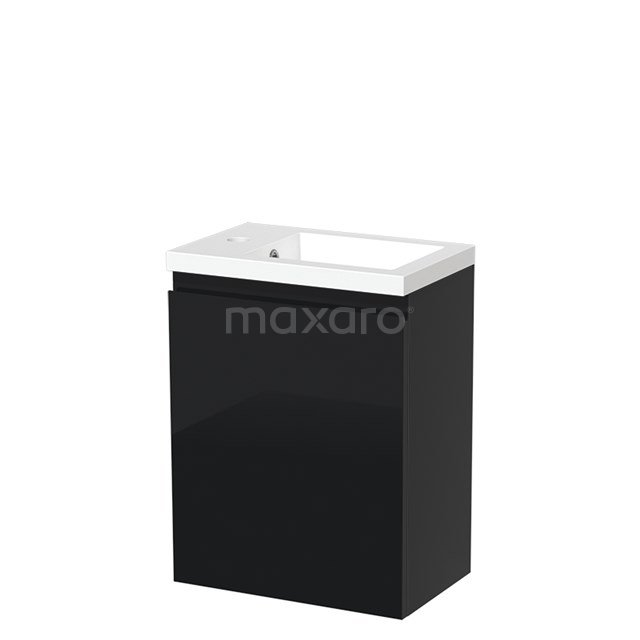 Toiletmeubel met Wastafel Mineraalmarmer Glanzend Modulo Hoogglans Zwart 40 cm TMW10-00066