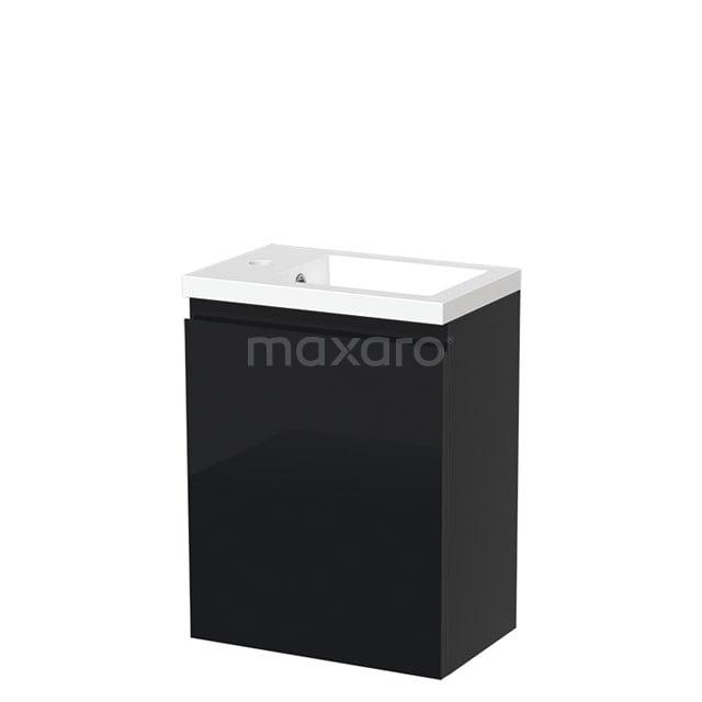 Toiletmeubel met Wastafel Mineraalmarmer Glanzend Modulo Hoogglans Zwart 40 cm TMW10-00072