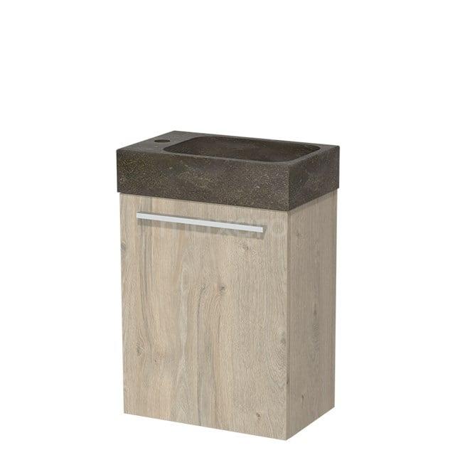 Toiletmeubel met Wastafel Natuursteen Modulo Lichtgrijs Eiken 40 cm TMW10-00074