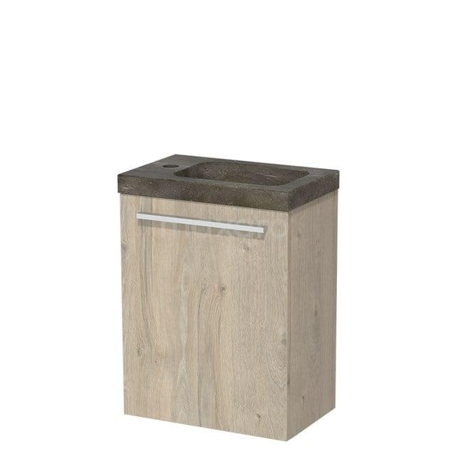 Toiletmeubel met Wastafel Natuursteen Modulo Lichtgrijs Eiken 40 cm TMW10-00075