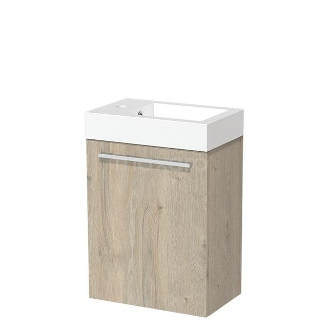 Toiletmeubel met Wastafel Mineraalmarmer Glanzend Modulo Lichtgrijs Eiken 40 cm TMW10-00077
