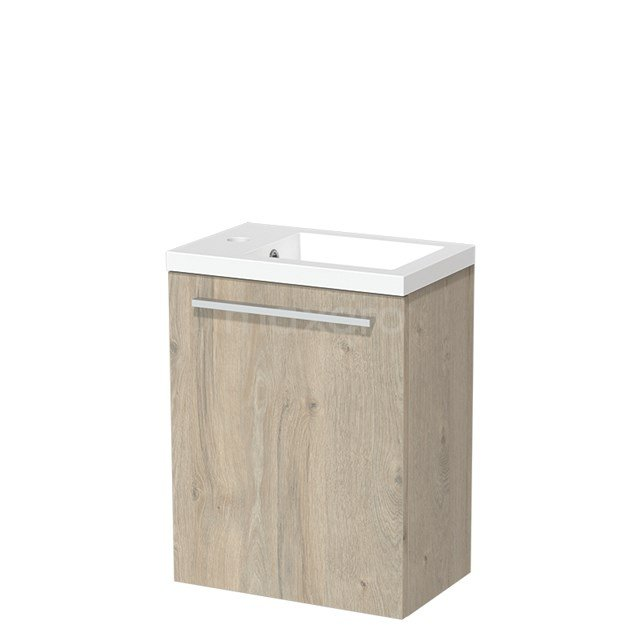 Toiletmeubel met Wastafel Mineraalmarmer Glanzend Modulo Lichtgrijs Eiken 40 cm TMW10-00078
